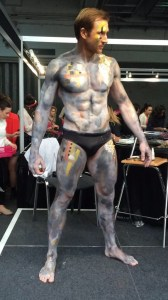 Sean Lerwill bodypaint modelling for Zoe Newlove at IMATS 2014