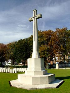 The 'Cross of Sacrifice', Ypres Reservoir Cemetery, 1918.  What does the image of the sword on the cross convey to you?