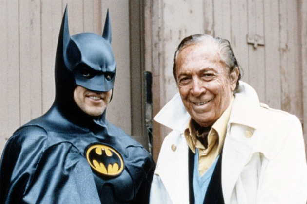 "Michael Keaton and Bob Kane during the production of ""Batman Returns"" (1992)"