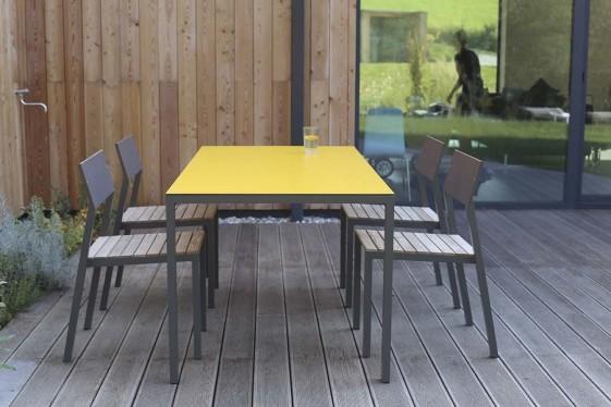 salon de jardin cora table rectangle 175 cm et 4 chaises metal aluminium de couleur plateau de couleur et bois massif seanroyale