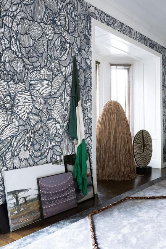 papier peint fleurs noir blanc impetro lost londonart seanroyale