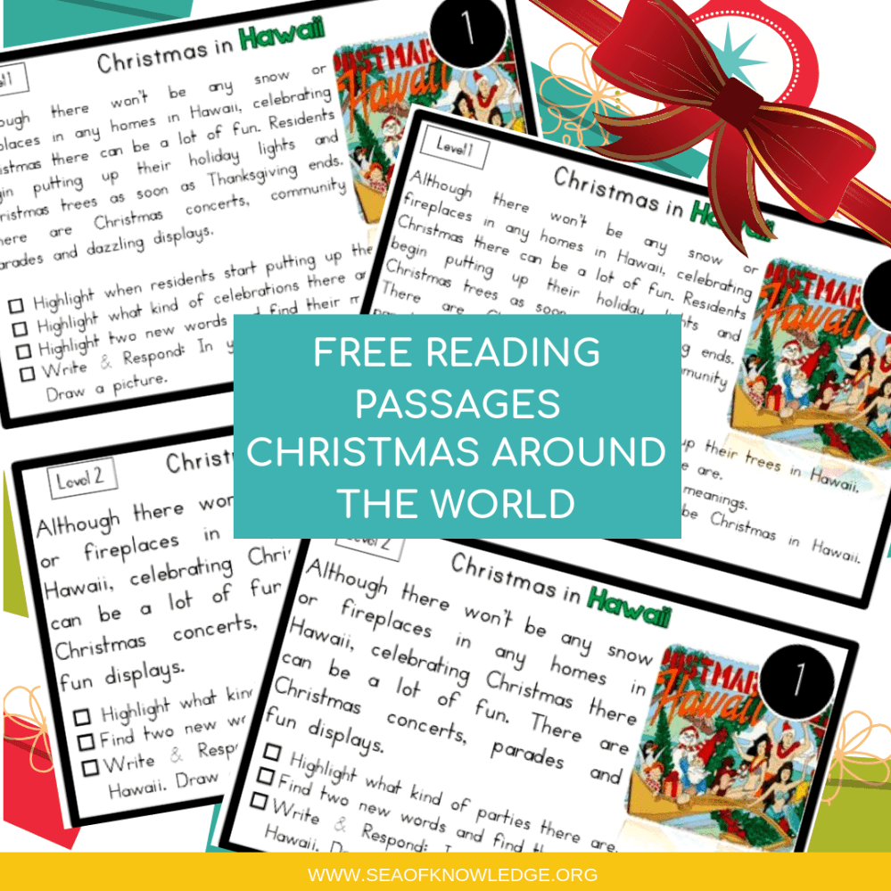 medium resolution of Reading Comprehension Passages Christmas Around the World Hands-on Levelled  Task Cards!