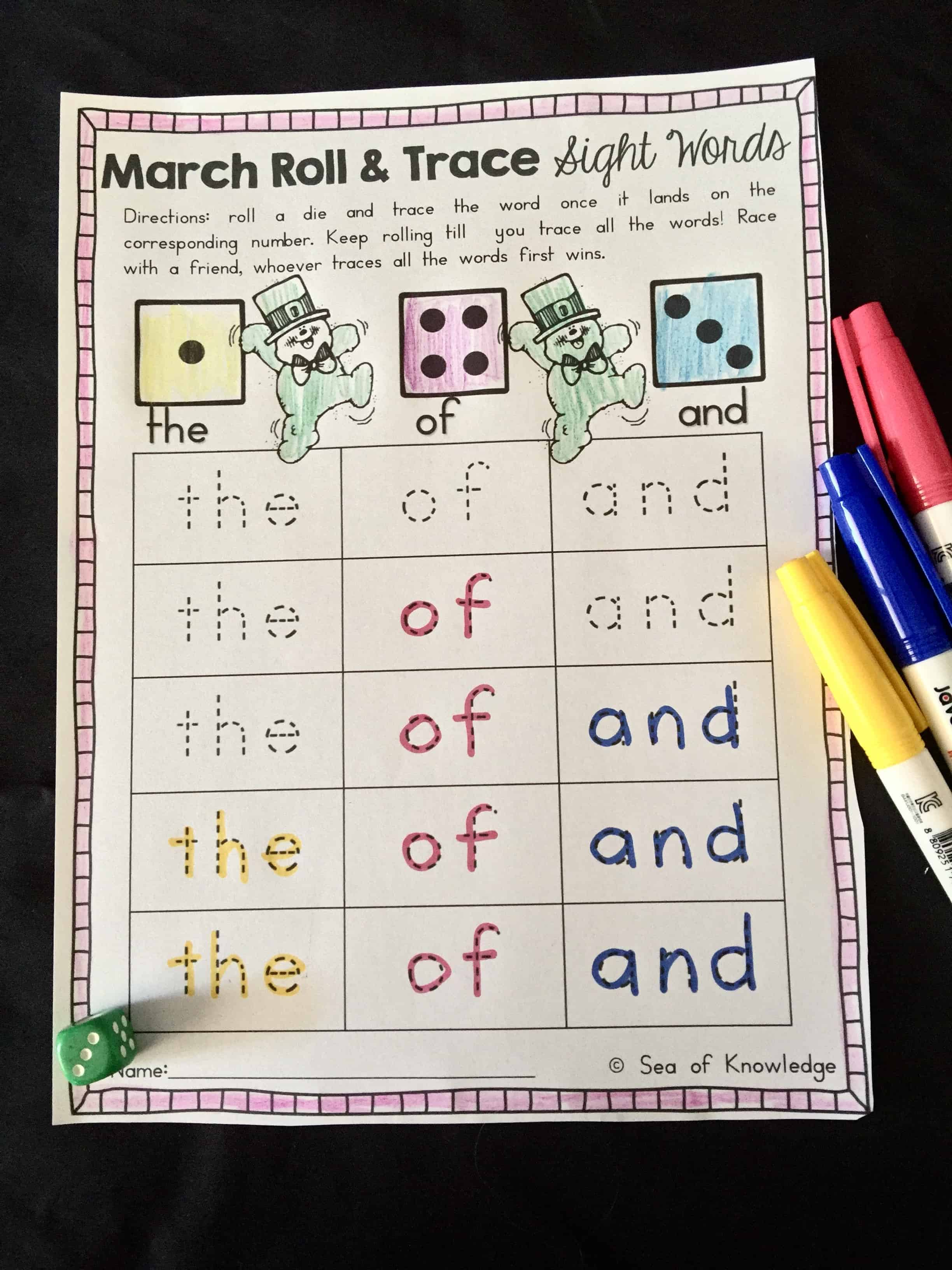 Sight Word Roll And Trace Free Five For Friday 4 03 16