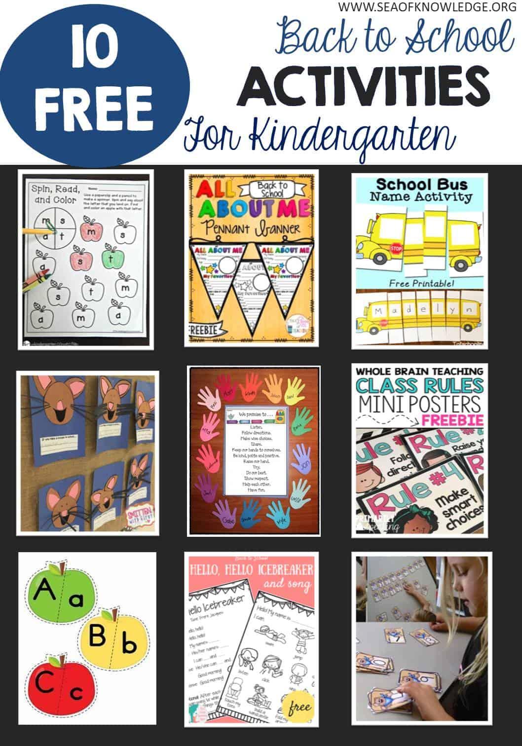 12 Free Back To School Kindergarten Activities