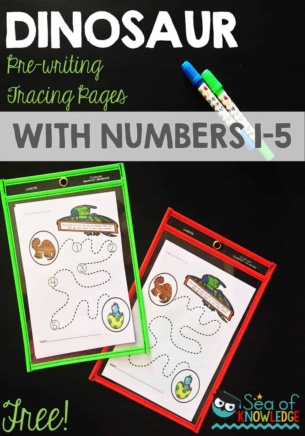 Dinosaur Pre Writing Practice Tracing Pages
