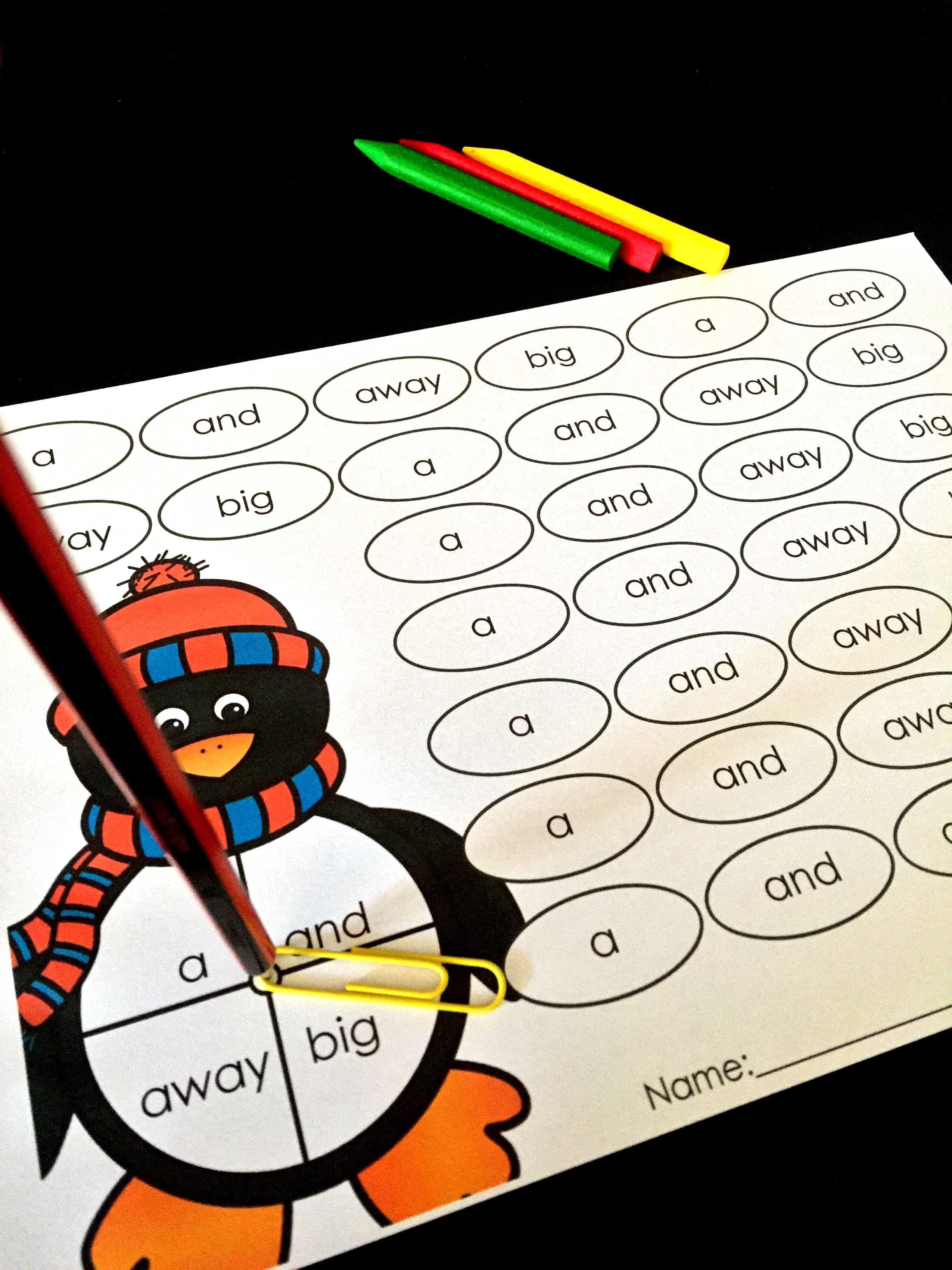 Free Sight Word Spin Read And Color Penguin Themed Blog