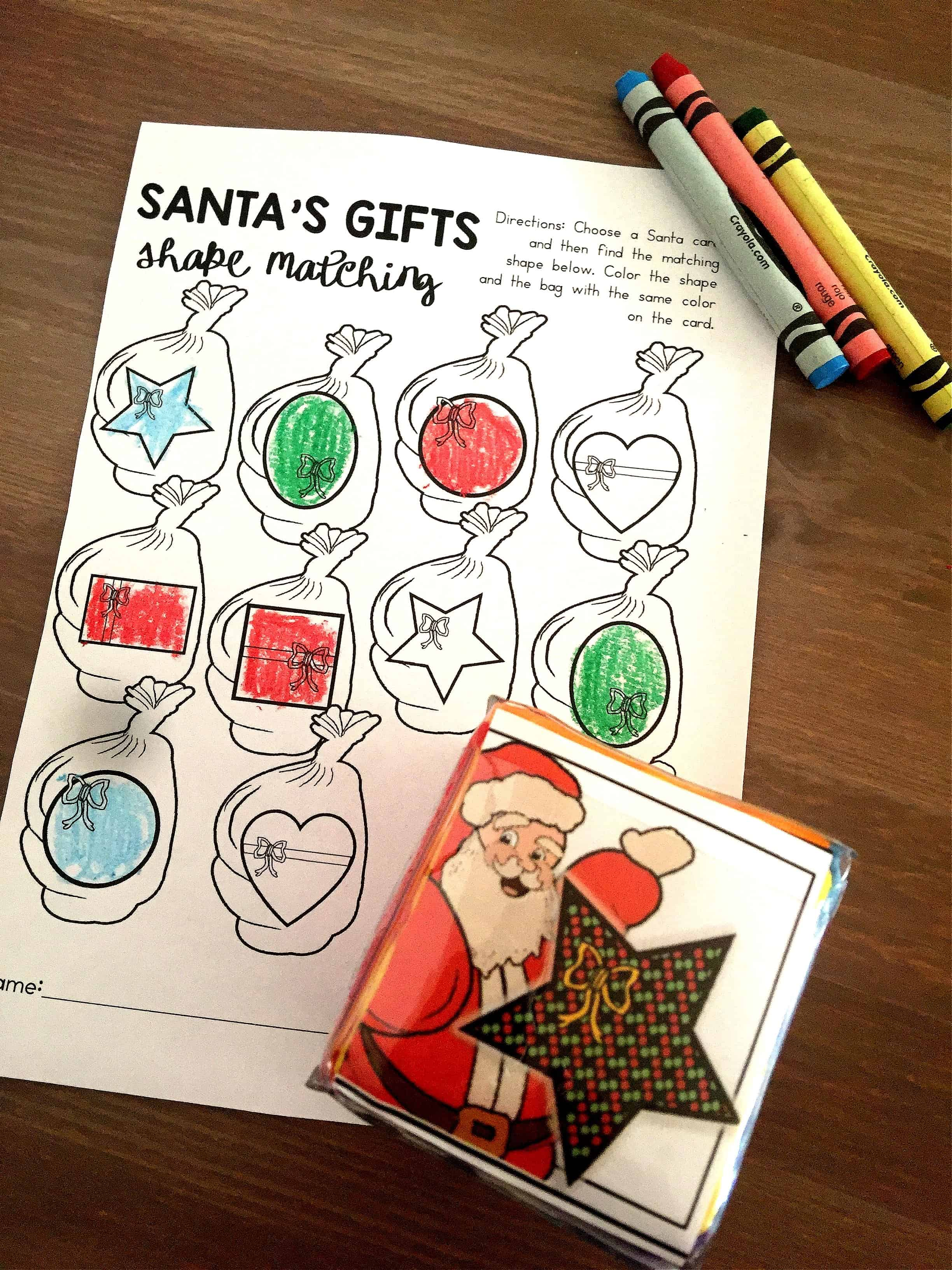 Shapes Activities For Preschool Christmas Theme