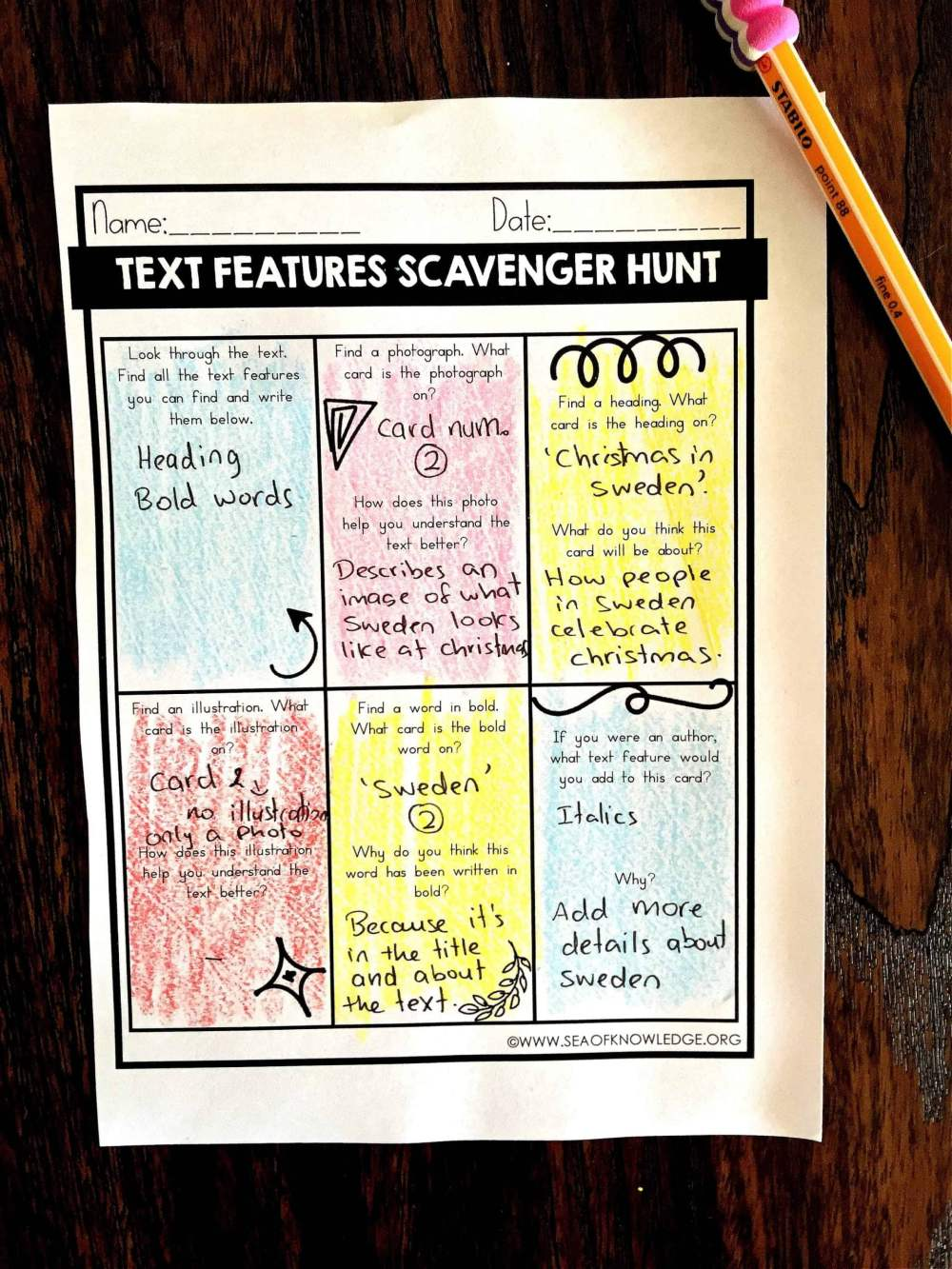 medium resolution of Nonfiction Text Features Worksheets Free - Sea of Knowledge
