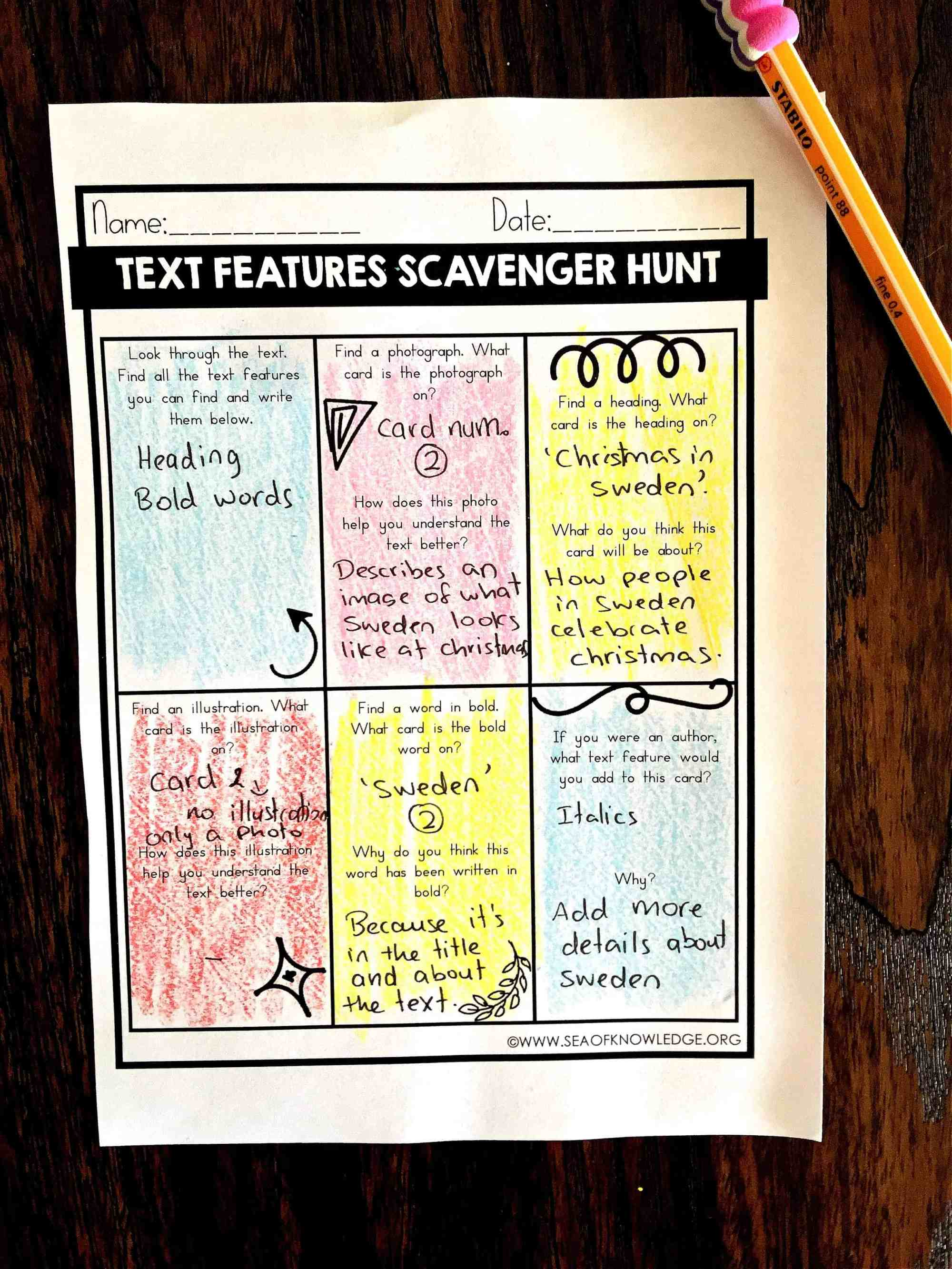 hight resolution of Nonfiction Text Features Worksheets Free - Sea of Knowledge