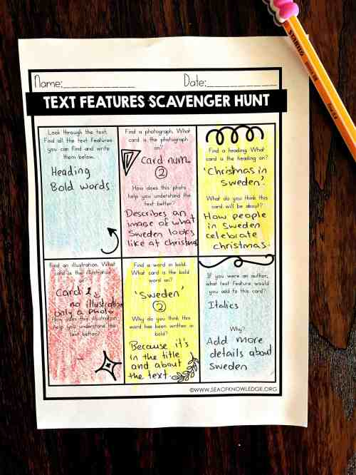 small resolution of Nonfiction Text Features Worksheets Free - Sea of Knowledge