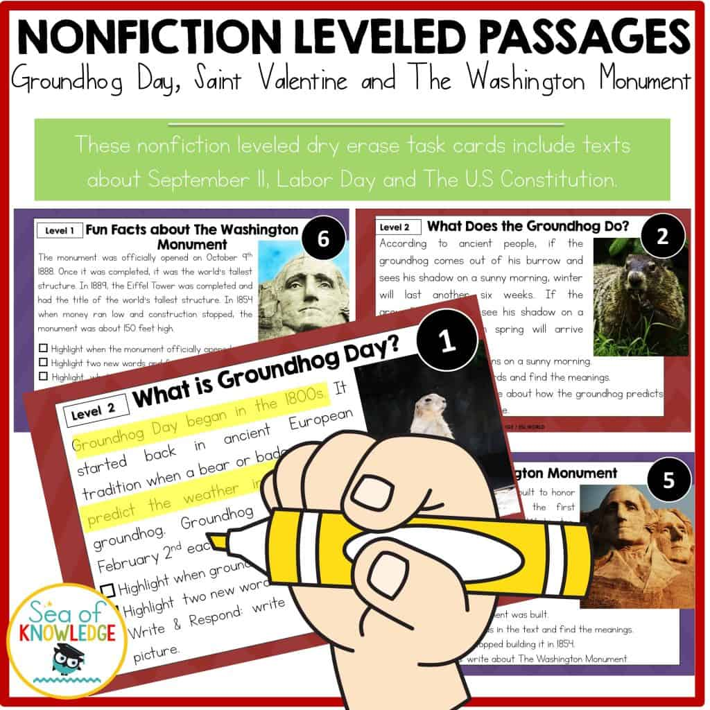 hight resolution of Groundhog and Leap Day Reading Comprehension Passages with Questions  Differentiated Texts! - Sea of Knowledge