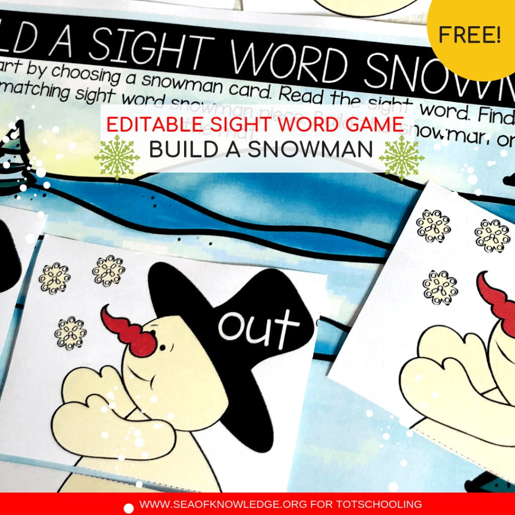 Build A Snowman Free Sight Word Worksheets