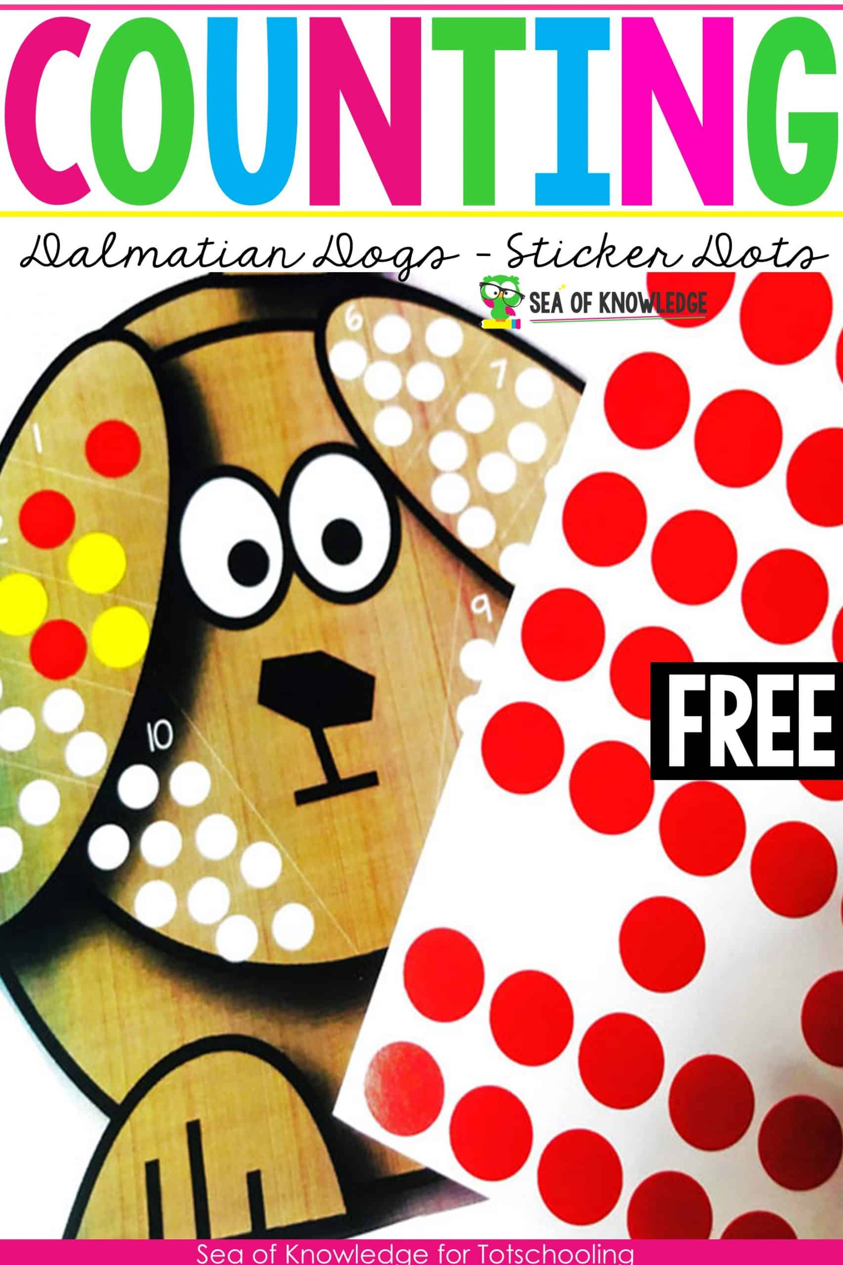 Counting 1 To 10 Dot Stickers Dalmatian Dogs