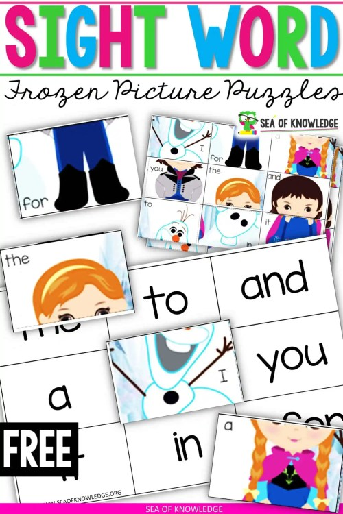 small resolution of Ice Princess Frozen Sight Word Worksheet Puzzles - Sea of Knowledge