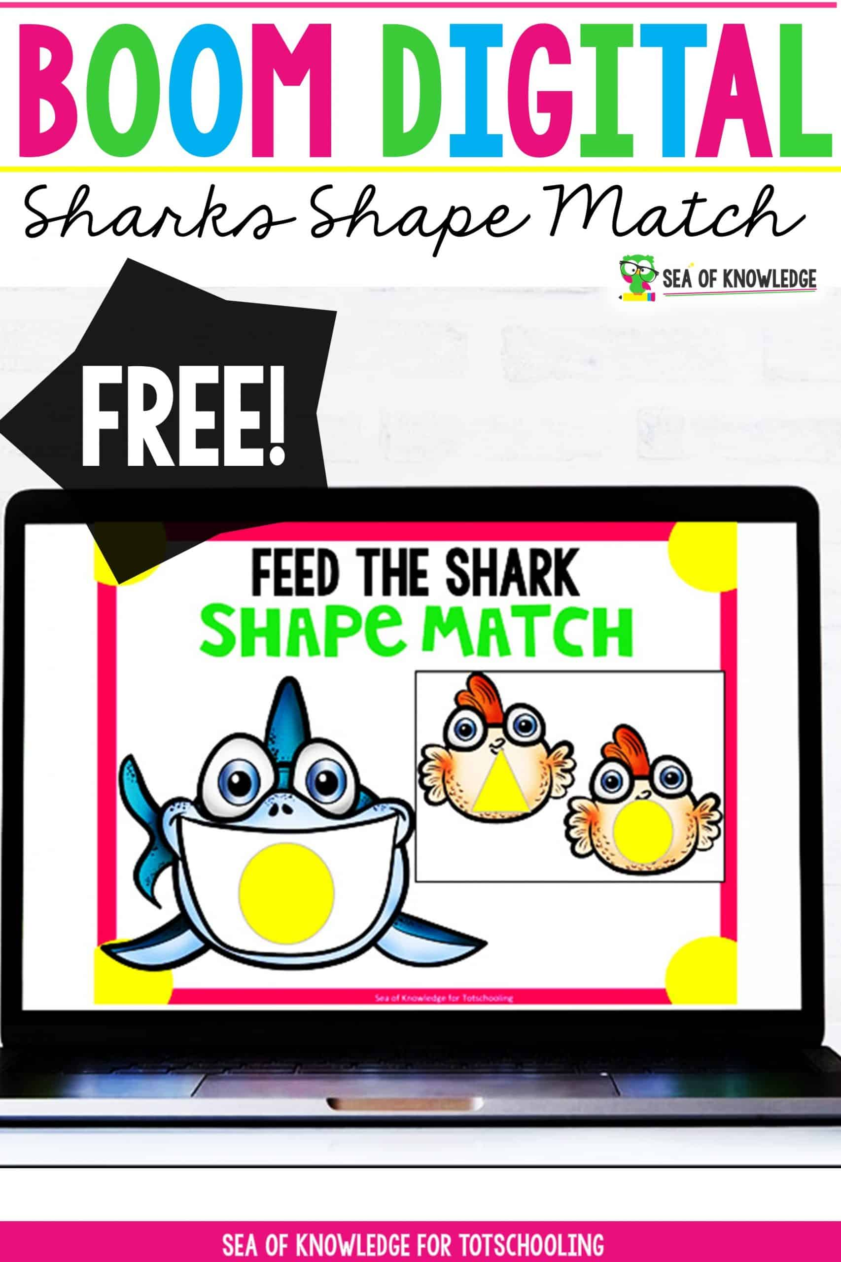 Sharks Shape Matching Digital Distance Learning Boom Cards