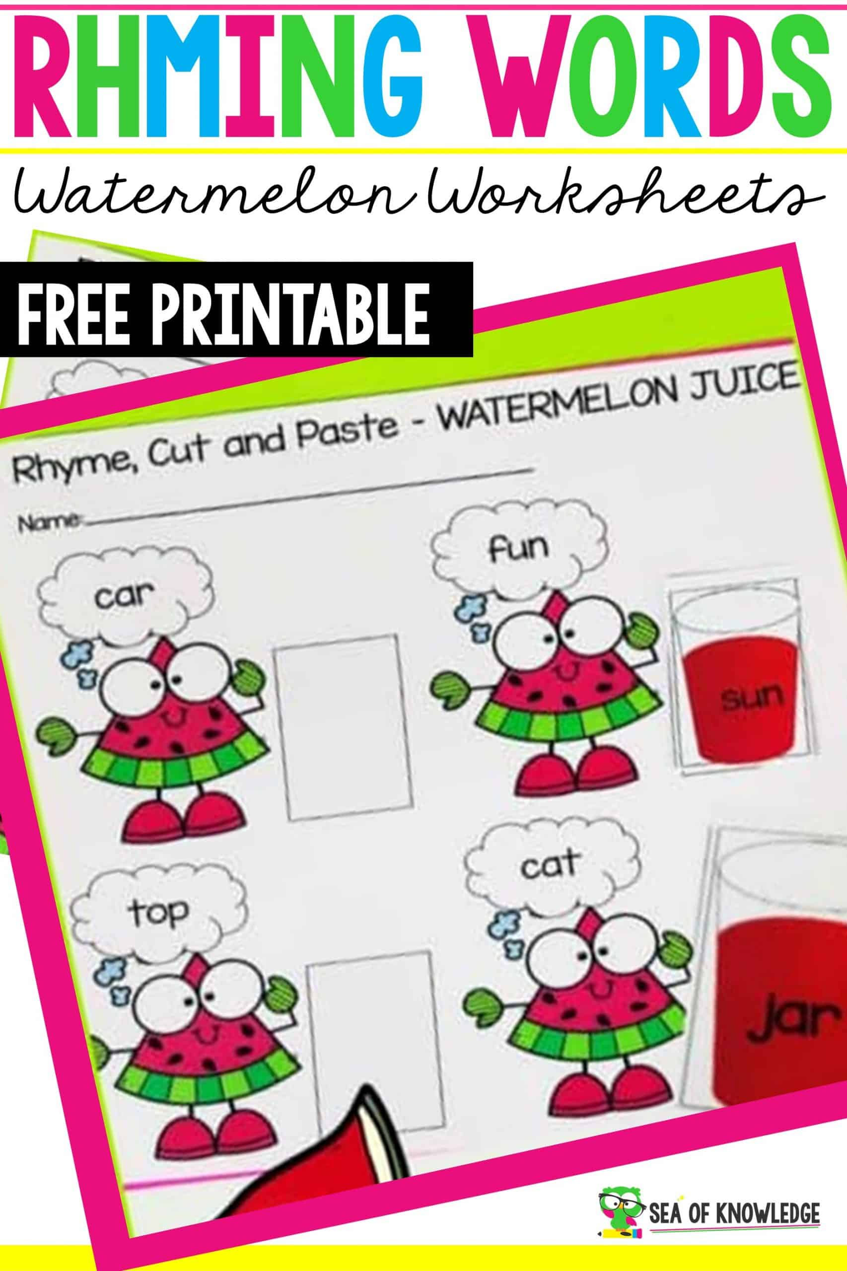 Rhyming Words Worksheets Watermelon Juice