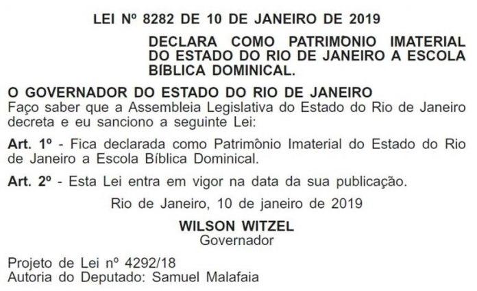 """Escola Bíblica Dominical é """"Patrimônio Imaterial"""" do Rio de Janeiro"""