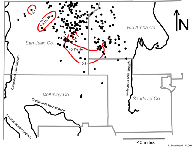 Map of He in Cretaceous gases in