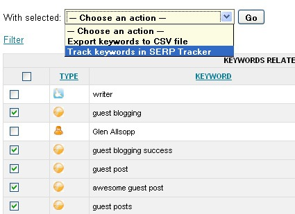 Keyword analyze: add to SERP tracker