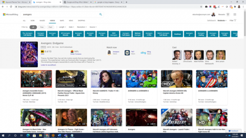 Microsoft Bing video search