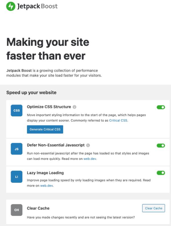 Screenshot of Jetpack Boost dashboard