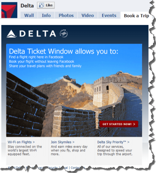Delta Airlines Ticket Window on Facebook
