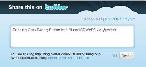 Twitter's tweet button window