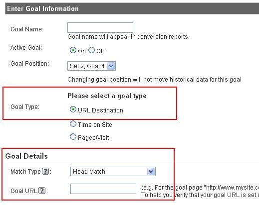 Conversion Goal Destination URL's in Google Analytics
