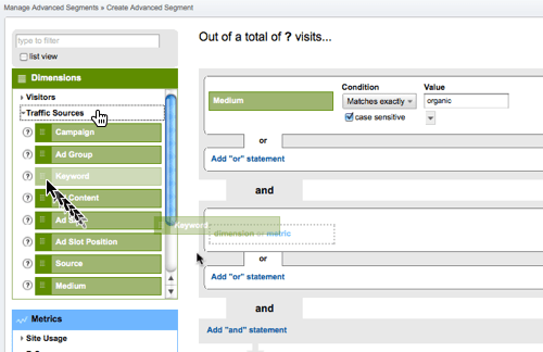 Screenshot: Add Keyword to advanced segment in Google Analytics