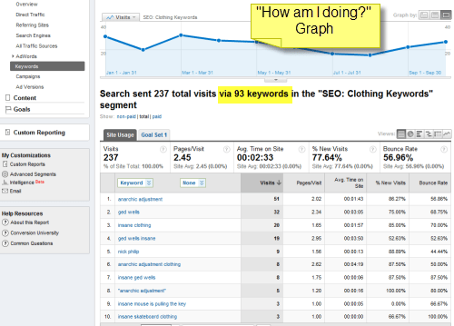 Screenshot: example of Google Analytics Keyword Custom Segment