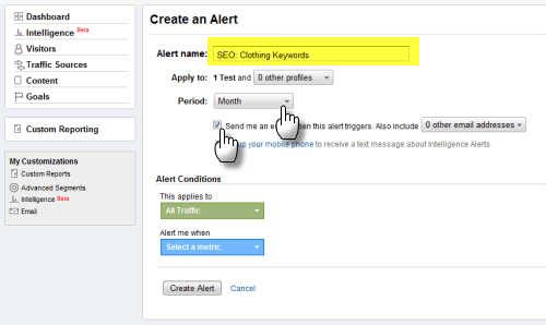 Screengrab: setting up a Google Analytics custom alert