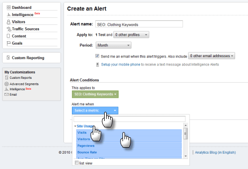 Screengrab: selecting Visits as Custom Alert metric