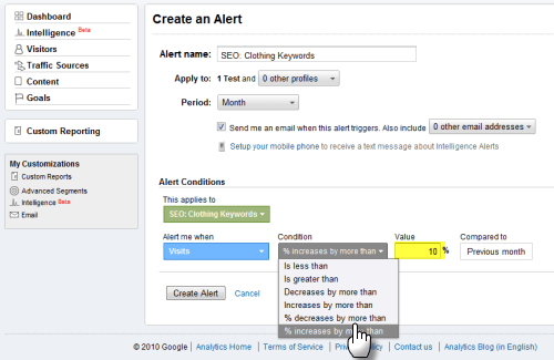 Screengrab: specifying the percentage increase for a GA custom alert