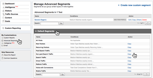 Screenshot: How to copy a Google Analytics advanced segment