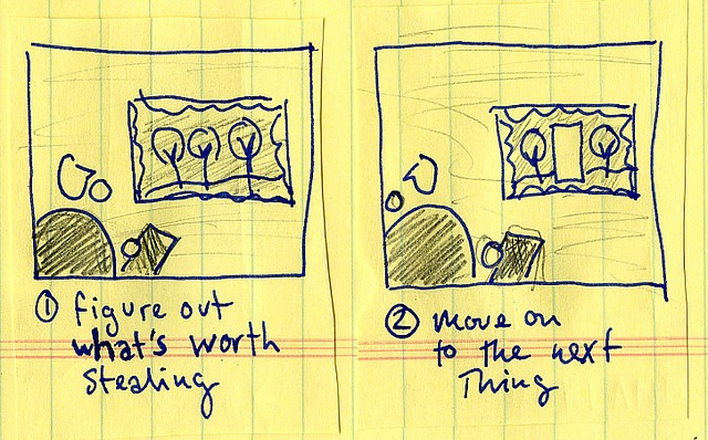 figure out what's worth stealing - move on to the next thing