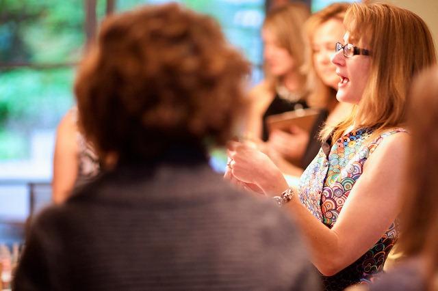woman talking, explaining