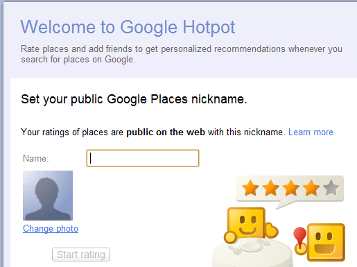 Google Hotpot signed in
