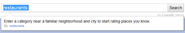 Google Hotpot restaurants search
