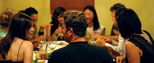 friends talking over dinner