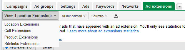 AdWords Extensions Tab