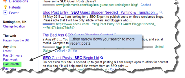 Narrow the search for guest blogging