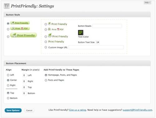 WordPress   Print Friendly Plugins