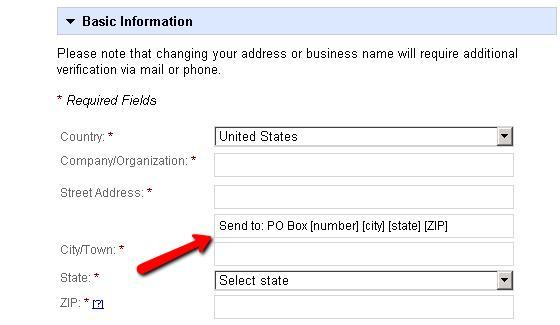 PO Box Address in Google Places