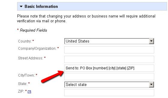 po box address in google places
