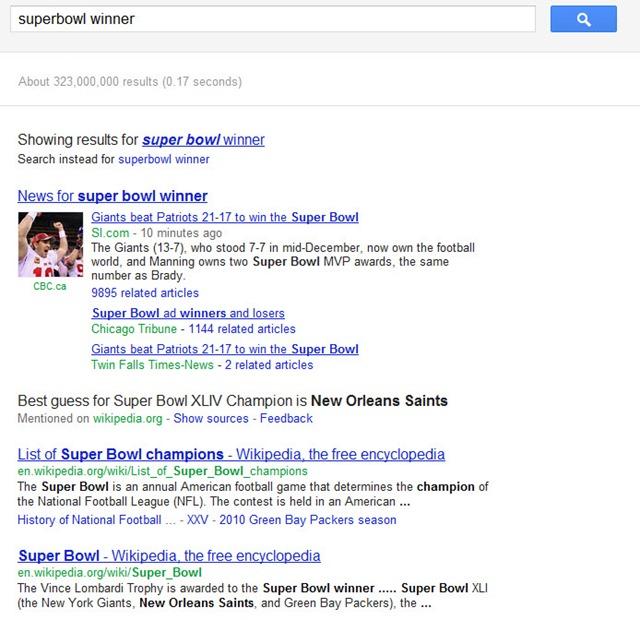Super Bowl XLVI Winner: Google Freshness &