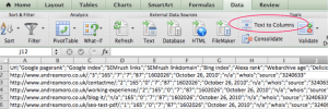 Transform text into column with Excel