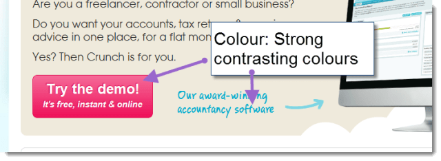 Using bright pink to draw the user in