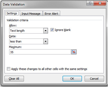 Data validation settings in Excel