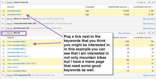 Using ad groups for keyword research