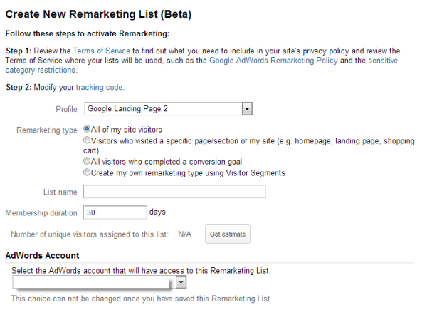 Creating remarketing list